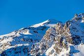 Morning view of the mountain La Grande-Motte.
