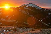 Rising Sun In Gorgany Mountains. Carpathians