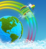 Planet earth with continents made of grass. Balloons on rainbow background. Sky and clouds.