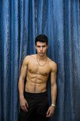 Handsome Shirtless Muscular Young Man, Looking At Camera