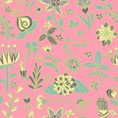 Vector Flower Texture.  Endless Floral Pattern. Can Be Used For Wallpaper