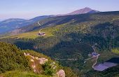 stock photo of chalet  - lake and chalets in Giant Mountains in Poland - JPG