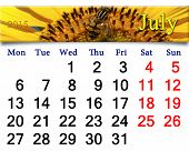 Calendar For July Of 2015 With Yellow Fly On The Sunflower