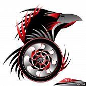 Custom Black Eagle Head Tattoo