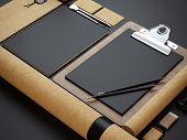 Set Of Craft Branding Elements On Black Paper Background