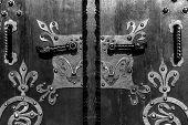Wooden door with ancient floral patten