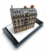 A smart phone with a elegant classical building jutting out