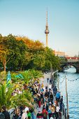 Spree Embankment In Berlin, Germany