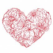 Heart Shape Is Made Of Hand Drawn Beautiful Flowers, Isolated On White Background. Element For Valen