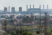 picture of electric station  - Extreme industry area in Moscow district Kapotnya - JPG