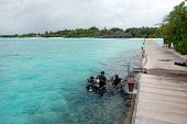 Divers In The Sea Near Timber Pier At Maldives