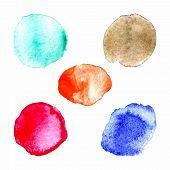 Rainbow colors paint circles, vector set