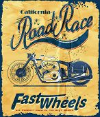 stock photo of motorcycle  - vintage race motorcycle for printing - JPG