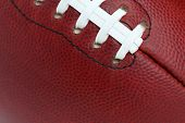Professional Football Texture and Laces Close Up for Sports Background