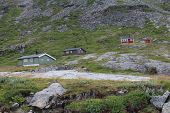 Small houses on the mountain, near the Trollstigen in Norway.