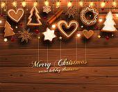 Winter Background. Wood Texture. Christmas Balls. Xmas Lights, Christmas Cookies