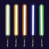 image of saber  - colorful illustration with light sabers on sky background - JPG