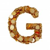 Alphabet Letter G With Golden Coins Isolated On White Background