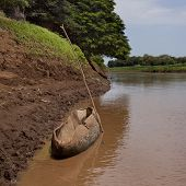 picture of canoe boat man  - Africa South Ethiopia Traditional boat on the Omo river - JPG