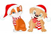 Illustration of Christmas puppy and kitten