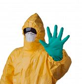 Scientist with protective yellow suit, ebola concept.