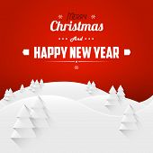 Merry Christmas And Happy New Year Landscape Greeting Card. Retro Font. Vector Illustration.