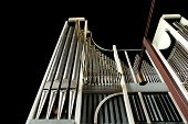 foto of pipe organ  - Low angle view of church organ on black - JPG