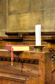 Choir chapel -detail of hymnal and candle