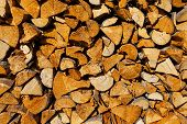 image of firewood  - Dry firewood in a pile for furnace kindling firewood texture - JPG