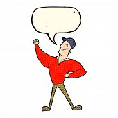 foto of striking  - cartoon man striking heroic pose with speech bubble - JPG