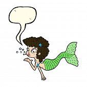 pic of mermaid  - cartoon mermaid blowing kiss with speech bubble - JPG