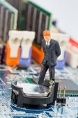 pic of crime solving  - manager on computer board - JPG