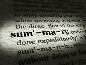 foto of summary  - Dictionary definition of the word SUMMARY on paper - JPG