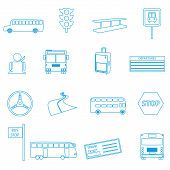 image of motor-bus  - bus transport simple outline icons set eps10 - JPG