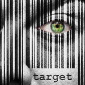picture of superimpose  - Barcode with the word target as concept superimposed on a man - JPG