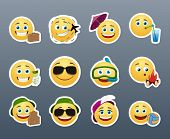 picture of emoticons  - Funny and cute emoticons travelers with different things - JPG