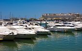 stock photo of vilamoura  - Luxurious yachts docked in the marina of Vilamoura Algarve Portugal - JPG