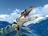 foto of prehistoric animal  - Computer generated 3D illustration with the prehistoric crocodile Dakosaurus in the stormy ocean - JPG