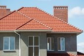 stock photo of roofs  - new home and roof - JPG