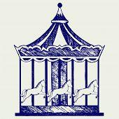 stock photo of merry-go-round  - Vintage merry - JPG