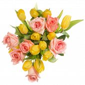 stock photo of yellow rose  - flowers roses tulips yellow top view pink nature floral day horizontal cut color beauty image isolated isolated background soft natural green white leaves holiday head tenderness gift love bouquet objects plants romantic background romance perfect roses - JPG