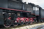 picture of train-wheel  - Black retro steam railway train with red wheels - JPG