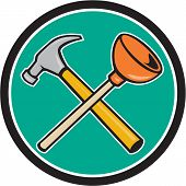 foto of plunger  - Illustration of a crossed hammer and plunger tools set inside circle on isolated background done in cartoon style - JPG
