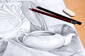 pic of pencil eraser  - Drawing of still life by graphite pencil with apple tea infuser and plaster palm leaf - JPG