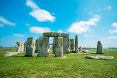 image of stonehenge  - View at the Stonehenge at sunny day - JPG