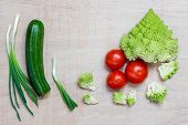 picture of fibonacci  - Vegetables for a salad with copy space - JPG