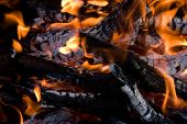 stock photo of bonfire  - Camping bonfire with flame and firewood fragment close - JPG