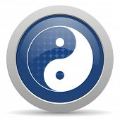 stock photo of ying-yang  - ying yang blue glossy web icon - JPG
