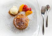 image of cream puff  - Apple pie in puff pastry served with ice cream and candied fruit - JPG
