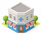 foto of isometric  - Vector isometric pharmacy building icon - JPG